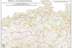Mapa elektráren severozápadních Čech s odborným obsahem