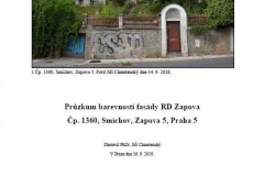 Průzkum barevnosti fasády v Zapově ulici